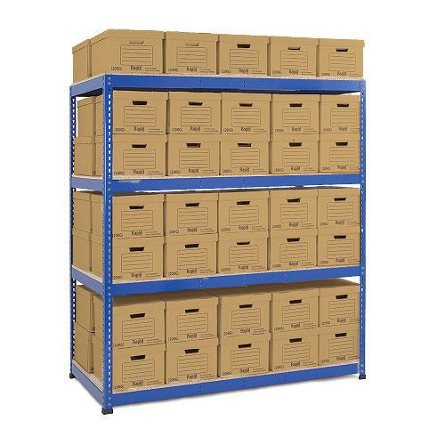 Heavy Duty Shelving Double Sided Archive Storage - 70 Boxes