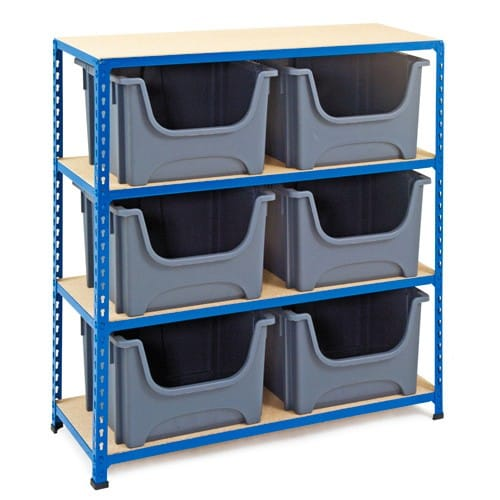 Medium Duty Shelving with 6 Pickmaster Boxes