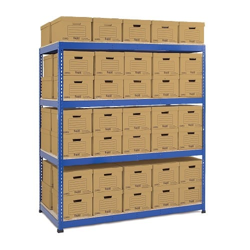 Heavy Duty Shelving Double Sided Archive Storage - 80 Boxes