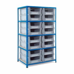 Medium Duty Shelving with 16 Open Fronted Eurocontainers