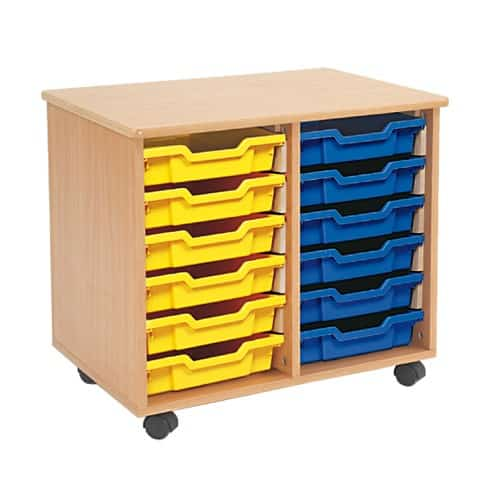 Shallow Tray Wooden Storage Units Including 12 Trays