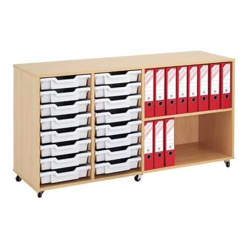Shallow Tray Wooden Storage Units Including 16 Trays