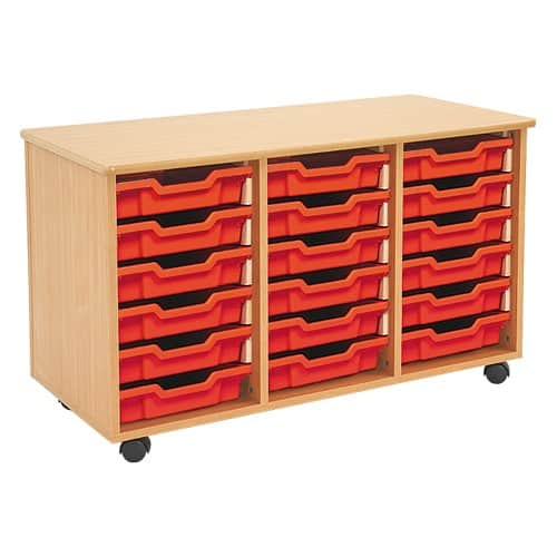Shallow Tray Wooden Storage Units Including 18 Trays