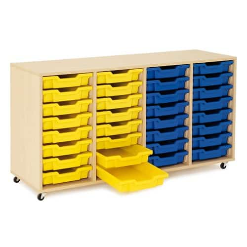 Shallow Tray Wooden Storage Units Including 32 Trays