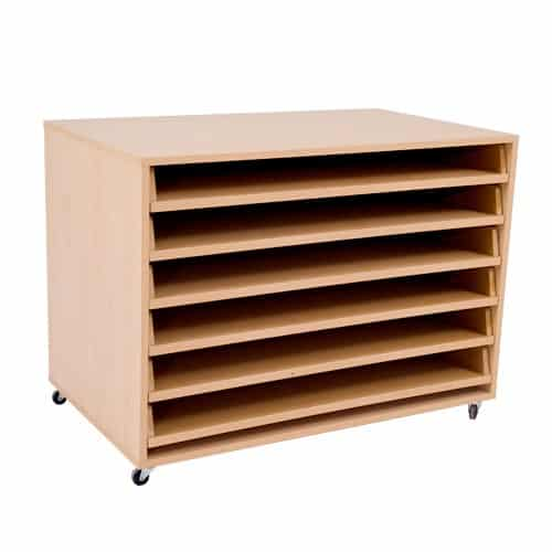 Mobile Paper Storage Unit - 6 Pull Out Shelves
