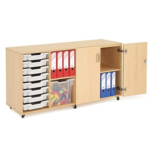 Storage Unit With Lockable Doors Including 8 Trays